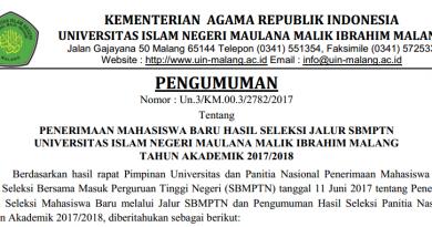 PENERIMAAN MAHASISWA BARU JALUR SBMPTN UIN MAULANA MALIK IBRAHIM MALANG TAHUN AKADEMIK 2017/2018